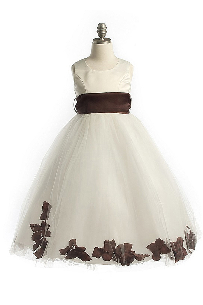 414a0161b24  JK2570BR   Satin Bodice Petal Flower Girl Dress with Organza Sash Brown  Petals