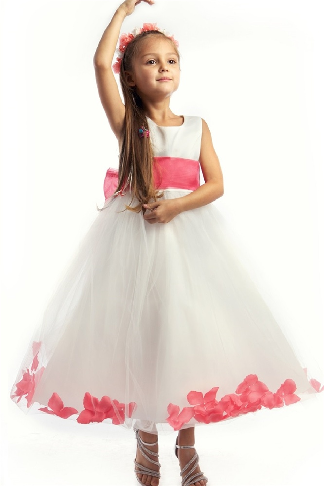 07bb1316d13f #JK2570CO : Satin Bodice Petal Flower Girl Dress with Organza Sash