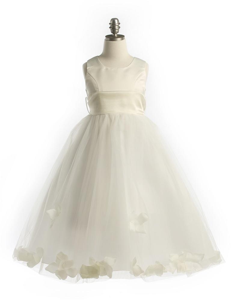 068b4c0f507  JK2570IV   Satin Bodice Petal Flower Girl Dress with Organza Sash Ivory  Petals