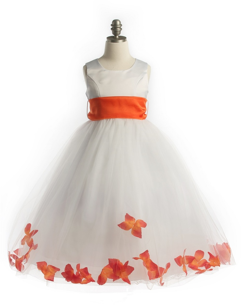 b60150541a49 #JK2570OR : Satin Bodice Petal Flower Girl Dress with Organza Sash