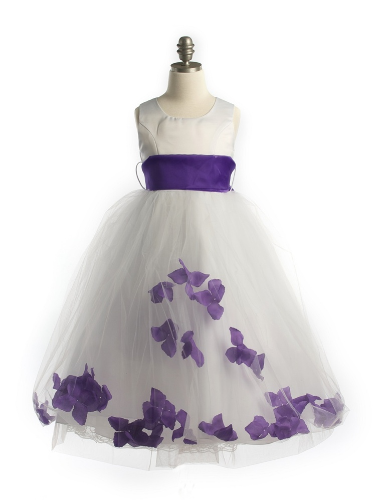 416381f5d19  JK2570PU   Satin Bodice Petal Flower Girl Dress with Organza Sash