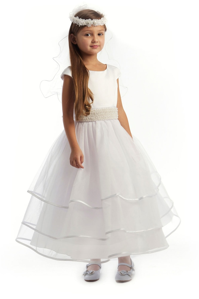 Stunning cap sleeved white dress w pearl accented waistline and flower girl dresses jk3412w stunning cap sleeved white dress w pearl accented waistline and mightylinksfo Image collections
