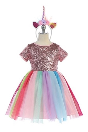 #JK3956 : Unicorn Dress with Unicorn Headband