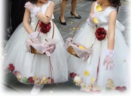 Romantic petal flower girl dress with removable silk floral belt