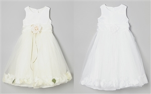 #KD160B ivory-white : Flower Petal Dress
