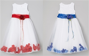 #KD160B red-blue : Flower Petal Dress