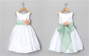 #KD204N- sage/dustyrose : Poly Silk Organza Sash Girl Dress