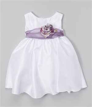 #KD204NB lilac : Poly Silk Organza Sash Girl Dress