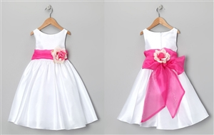 #KD204N-1 : Poly Silk Organza Sash Girl Dress