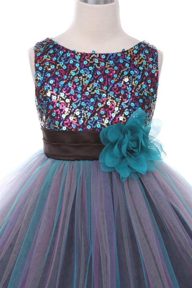 Multi Sequin Trio Color Tulle Dress