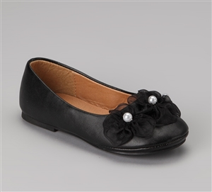 #KDBS003 black  : Ballerina Slippers / Pearl Flowers