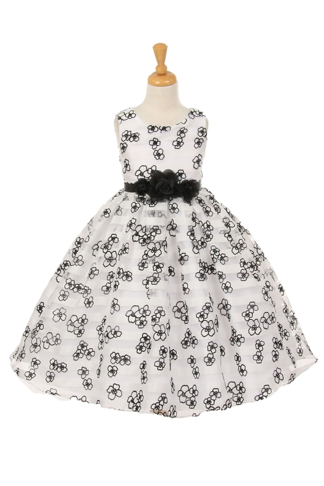 Black rose flower flocked on white stripe organza flower girl dresses kk6364 black rose flower flocked on white stripe organza mightylinksfo
