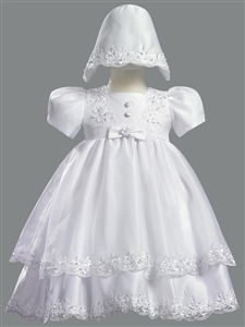 #LT2190 : Girls White Double Layer with Pearl Embellishment Christening Dress