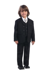 #LT3710BK: Boys Formal Suit with Vest and Tie