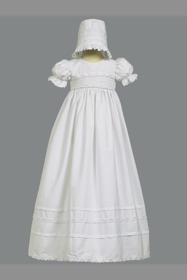 LTMarie : Girls Christening Smocked Bodice Cotton Christening Gown
