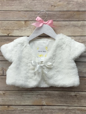 #PAB703_ow-01 : Soft Faux Fur Shrug Bolero With Satin Ribbon