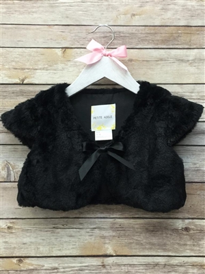 #PAB703_ow-01 black : Soft Faux Fur Shrug Bolero With Satin Ribbon