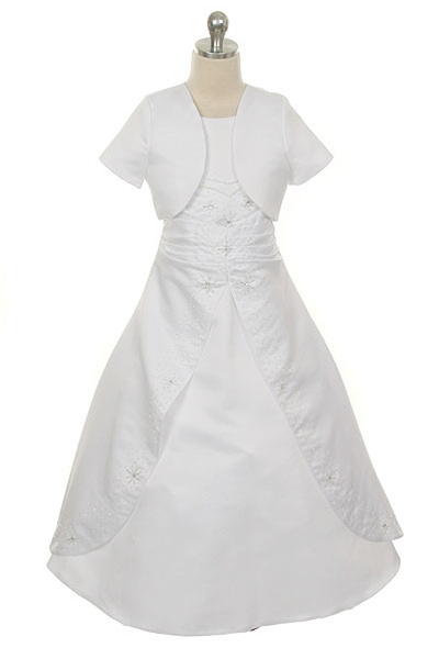 A Line White Satin Dress With Beads