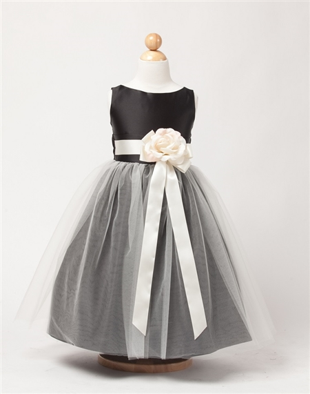 #SK402BLA : Sleeveless Satin and Tulle Dress