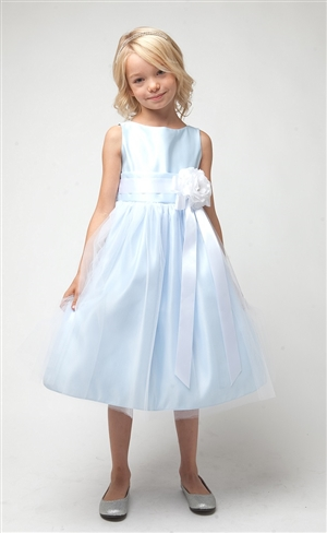 #SK402LTB : Sleeveless Satin and Tulle Dress