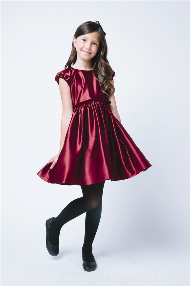 Flower Girl Dresses -SK519BU : Classic Satin Holiday Dress