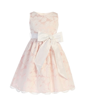 #SK752B : SOFT SPRING JASMINE LACE WITH DUPIONI BOW DRESS