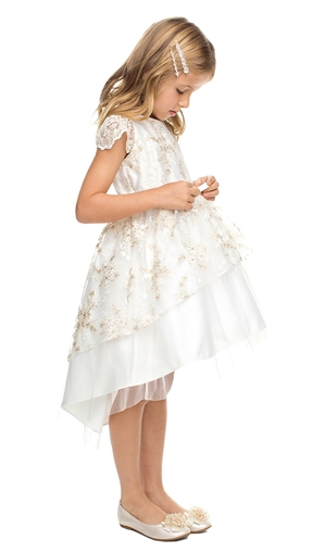 #SK832IV: FLORAL LACE PEPLUM HI-LOW Flower Girl DRESS