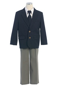 #SKM130G : Boy's 4-Piece Navy Blazer Set