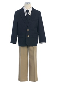 #SKM130T :Boy's 4-Piece Navy Blazer Set