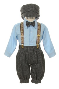 # SKS101BB : Boys Blue Brown 5-piece suspender set