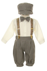 # SKS101VB : Boys Ivory Brown 5-piece suspender set