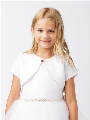 #TT7907 : WHITE Satin Short Sleeve Bolero with Pearl