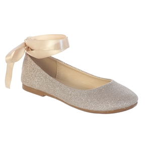#TTS128 : Big Girls Shoe Sparkle Lace Up Ballet